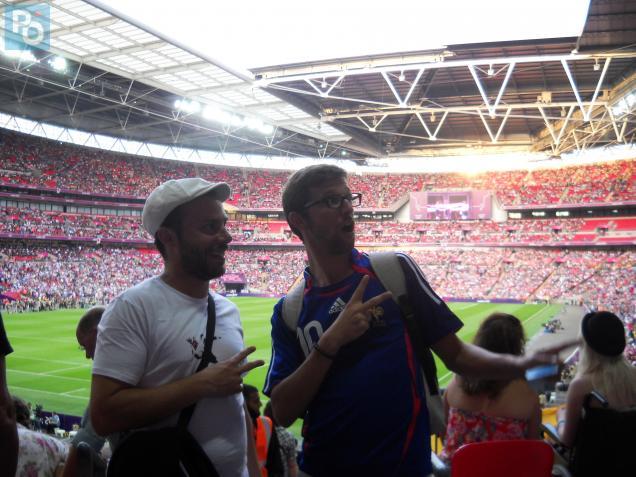 """Matthieu et Julien au stade de Wembley pour leur dernière journée """"olympique""""."""