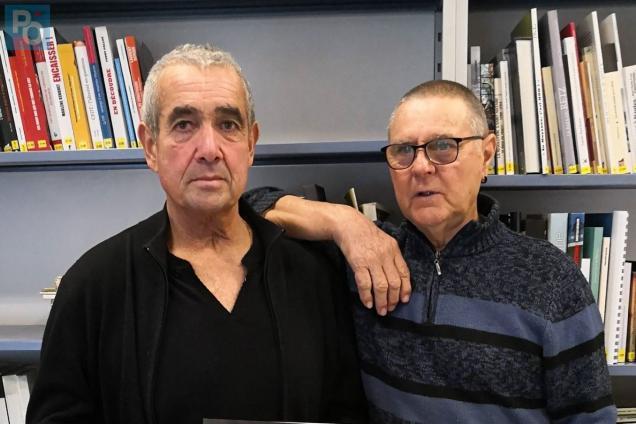 Christian Zimmer (à gauche) à côté de Daniel Dutreuil, autre ancien docker.
