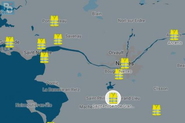loire atlantique gilets jaunes la carte des blocages pr vus le 17 novembre presse oc an. Black Bedroom Furniture Sets. Home Design Ideas